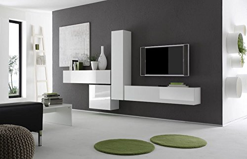 Parete attrezzata mobili salotto 4 mobili sospesi 307x31x165cm sodani boost bianco
