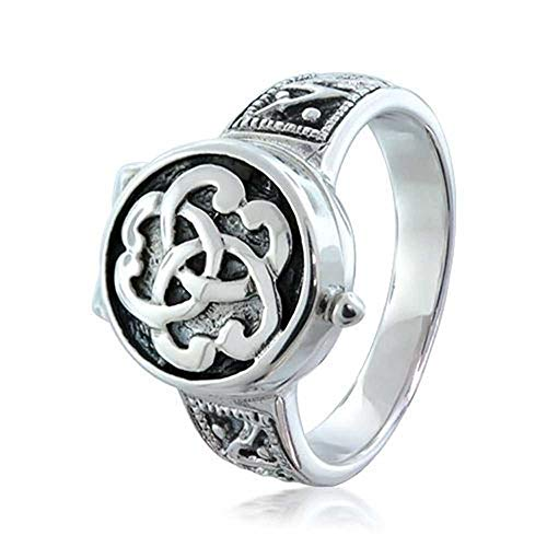 Triquetra Irischen Keltisch Knoten Trinity Signet Medaillon Gift Ringe Für Damen Für Herren Sterling Silber