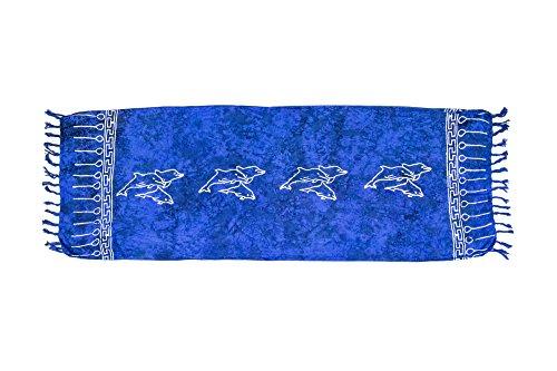 ManuMar Damen Sarong   Pareo Strandtuch   Leichtes Wickeltuch mit Fransen-Quasten Mini-Rock 55x155 cm Dunkel-Blau Delfin