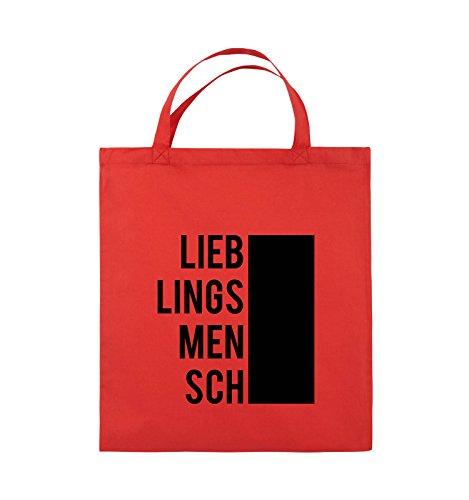 Comedy Bags - LIEBLINGSMENSCH - BLOCK - Jutebeutel - kurze Henkel - 38x42cm - Farbe: Schwarz / Pink Rot / Schwarz