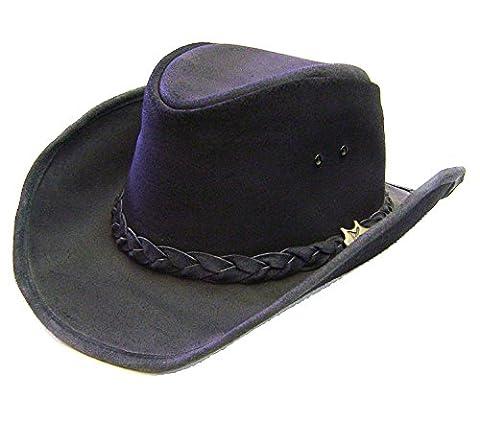 Modestone BC Hat Drover Concho Soft Australian Leather Cowboy-Hut