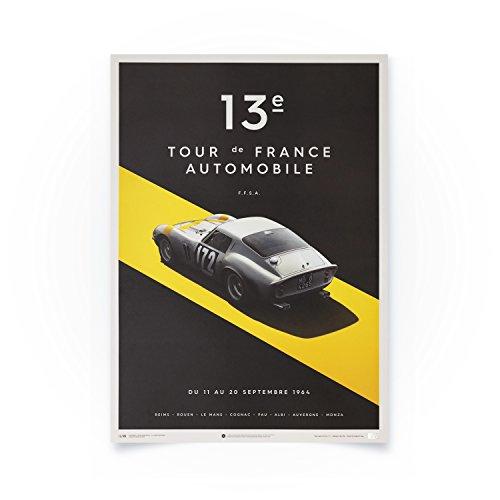Ferrari 250 GTO - Tour De France Automobile 1964 - Argent - Affiche Unique Design en Édition Limitée - Taille d'affiche Standard 50 x 70 cm