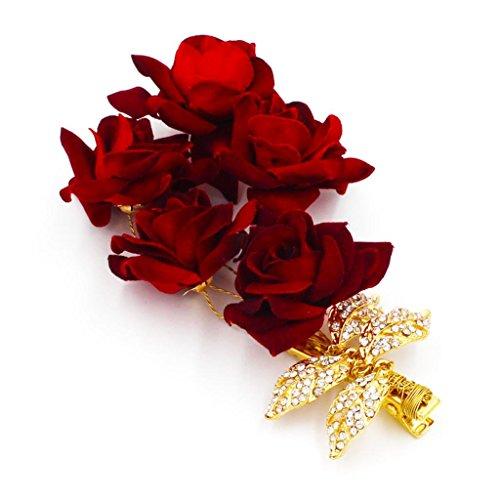 MagiDeal Pince à Cheveux De Mariée Rose Rouge Clips Barrette En Cristal Bijoux Mariage