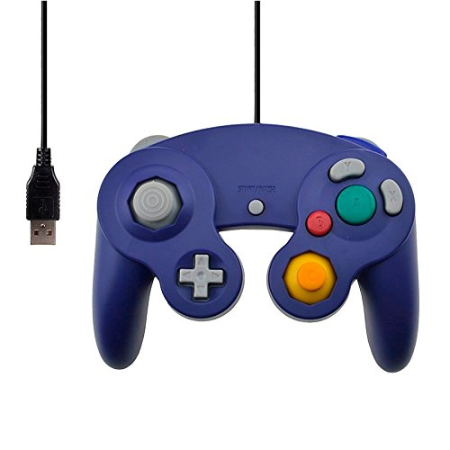 SHOM New Wired Controller For Wii Vibration Shock Joypad Joystick For Gamecube For Ngc For Pc Mac Computer Controle Accessories Usb Interface Blue