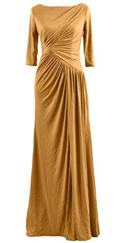 MACloth - Robe - Trapèze - Manches Courtes - Femme Or - Doré
