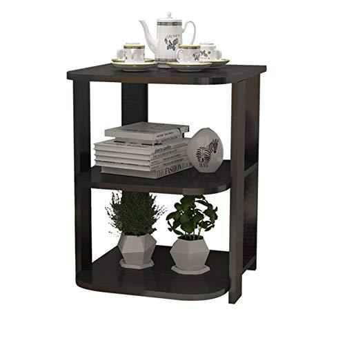 Bseack Store Tabelle Ecktisch, Kleine Wohnung Holz Beistelltisch, Multifunktionsspeicher Geeignet für Sofa Seite Schlafzimmer Bedside 3 Colors (Farbe : SCHWARZ)