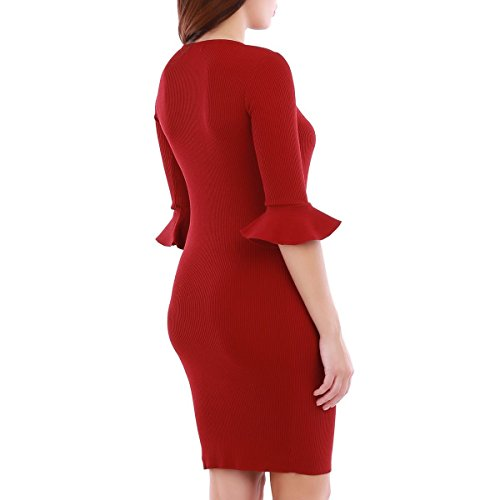La Modeuse - Robe courte en maille côtelée Rouge
