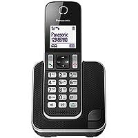 Panasonic KX-TGD320JTB Telefono Cordless DECT con Segreteria Telefonica, Schermo LCD Monocromatico Bianco, Schermo e Tasti Retroilluminati, Suoneria Polifonica, Blocco chiamate Indesiderate, Nero