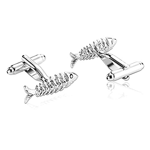 AMDXD Jewelry Stainless Steel Men Cufflinks Silver Bonefish Fish Two Tone Cuff Links