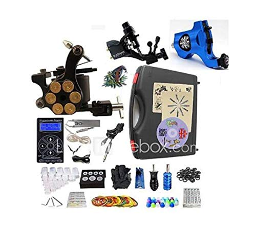 Tattoo-Maschine Professional Tattoo Kit-3 Pcs Tattoo-Maschinen, Professionelle LED-Stromversorgungs-Gehäuse Inklusive 2 Rotationsmaschinen Liner & Shader/1 Legierung Maschine Liner & Shader -