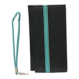 Jo Jo A5 Nillofer Leather Wallet Universal Pouch Cover Case For Acer Liquid Z2 Dual with dual SIM card slot Black Light Blue