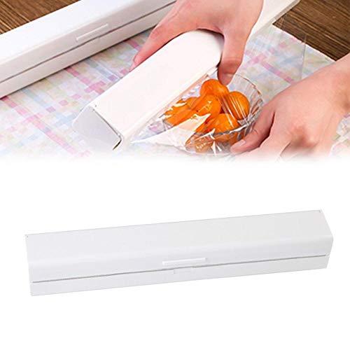 welltobuy Folienspender Folie Dispenser Plastikverpackung Rutsche Cutter Kunststoff Küche Wrap für Alu und Frischhaltefolie Schneider und Frischhaltefolie Cutter Lagerung Inhaber