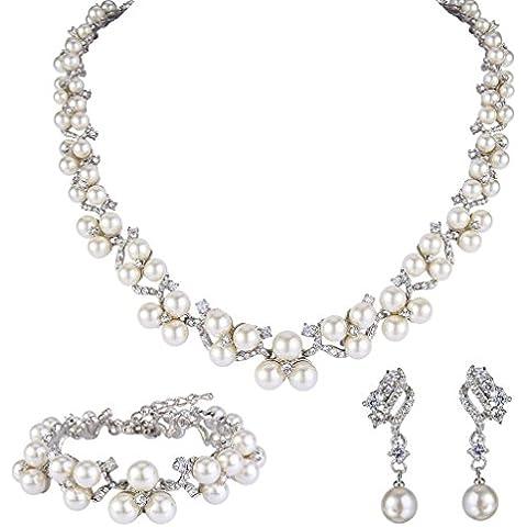 EVER faith® da donna con cristalli e zirconia cubica, imitazione di perla, in stile vittoriano, colore: trasparente