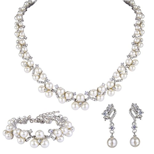 EVER FAITH Women's Crystal CZ Simulated Pearl Victorian Style Jewellery Set Clear