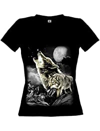 Ethno Designs Wolf Wilderness - Loup Streetwear T-shirt pour Femmes - Motif d'animal Shirt - animaux sauvages