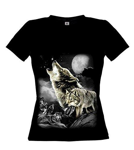 Ethno Designs Wolf Wilderness - Loup Streetwear T-shirt pour Femmes - Motif d'animal Shirt - animaux sauvages Noir