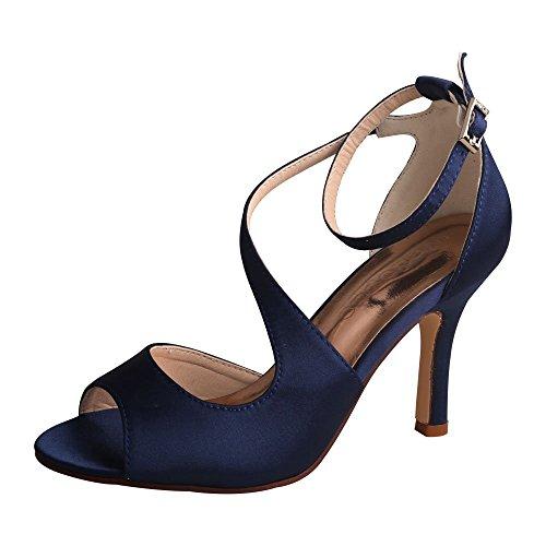 Wedopus WD7050 Sandale Hoch Absatz Pumps Peep Zehen Rhinestones Satin Damen Brautschuhe Hochzeit Gr??e 40 Navy blau - Marine-peep-toe-heels