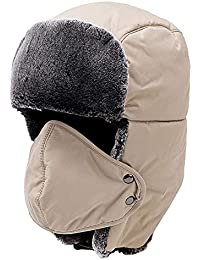 a7a60a3f8633a Yooeen Unisex Warm Winter Trapper Trooper Hat Mens Classic Winter Faux Fur  Bomber Hats with Ear Flap and Windproof Mask Snow Ski…