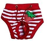 Oha pantaloni Pet keits in calore per cagne 25–32cm Circonferenza fianchi rosso con fragola–cani per incontinenza–Pantaloni keits in calore Coveralls–Copripannolino–puramente culla pantaloni sportivi da donna (S)