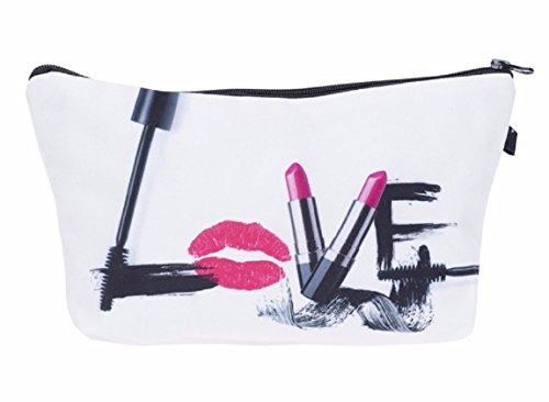 Modische Kulturtasche   Kosmetiktasche   Schminktasche (Make-Up Bag)   Kulturbeutel mit schönen Print-Motiven für Reisen, Urlaub und Alltag (Weiß-Schwarz (Love))