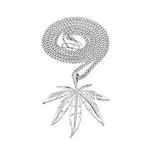 Adisaer Panzerkette Vergoldet Halskette mit Anhänger Herren Blätter Kette für Männer Silber/Gold Hip Hop Ketten Panzerkette Lange 60 cm