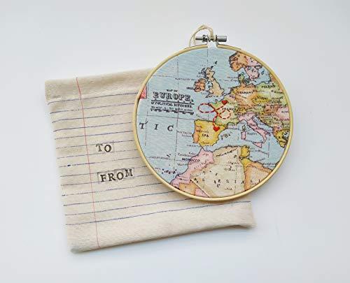 Regalo personalizado bordado relación larga distancia, viaje de estudios, luna de miel