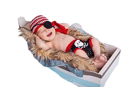 3 Pcs Infant Neugeborenes Baby Kostüm Outfits Fotografie Requisiten Fluch der Karibik Hut+Brille+Hose 0-6 Monate (Ein Alter Fluch Kostüm)