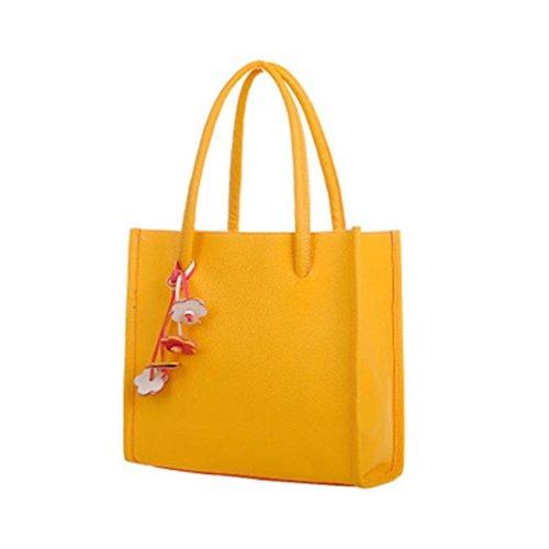 Bluestercool Frauen Art und Weise elegante Schultertasche aus Leder-Süßigkeit-Farben-Blumen Tote Gelb