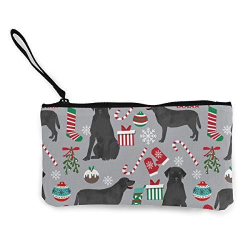 Black Lab Cute Black Labrador Multifunctional Portable Canvas Coin Purse Phone Pouch Cosmetic Bag,Zippered Wristlets Bag