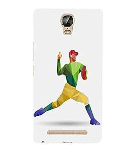 FUSON Baseball Player Throw Ball 3D Hard Polycarbonate Designer Back Case Cover for Gionee Marathon M5 lite