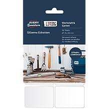 Avery 62031 Rectángulo Plata 32pieza(s) - Etiqueta autoadhesiva (Plata, Rectángulo, Poliéster, 47,5 mm, 35 mm, 32 pieza(s))
