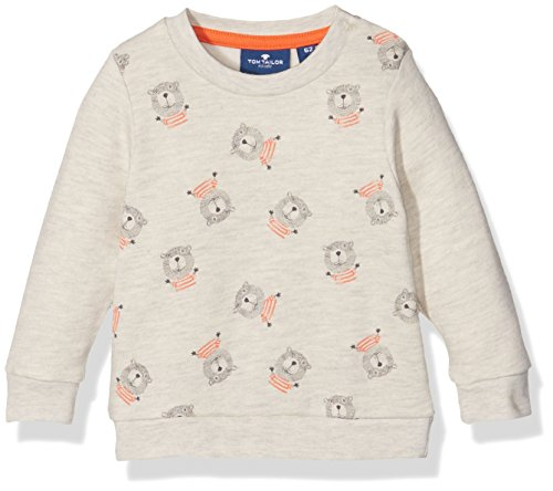 TOM TAILOR Kids beaver pattern sweatshirt, Felpa Bimba 0-24, Beige (Hot Sand Melange), 68