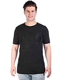 LNDN HOUR Half Sleeves New Stylish Fabric Patch Chest Print, Round Neck Cotton Tshirt, Latest High Quality Fashion Garments For Mens / Boys. Black Colour