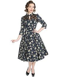 Hearts & Roses FLORAL Vintage Blüten Mesh Peephole Swing Dress KLEID Rockabilly