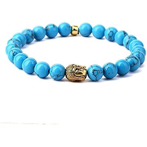 Nyuk joyas para hombre Buda brillante Natural orquídea piedra azul perlas de energía pulsera de chapado en
