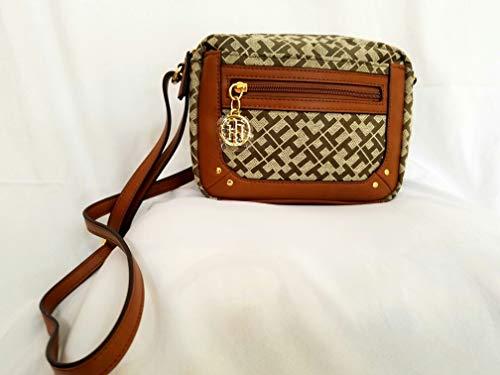Tommy Hilfiger Tasche BRAUN BEIGE Crossover Umhängetasche Schultertasche 24x14x8cm TH Logo Damenhandtasche 6821 (Tommy Hilfiger Tasche Braun)
