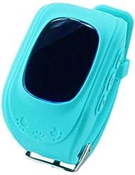 GPS Orten und telefonieren Watch für Kinder,Techkoo GPS Tracker(Wecker Stellen, fern reden, Schritte Zählen usw.) Unterstützt IOS/ Android, in Verbindung mit Internet müssen Blau