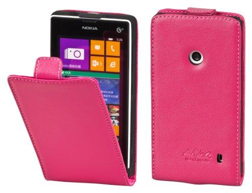 Akira Handmade Original Premium Echtleder Flip Case für Nokia Lumia 520 Pink