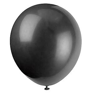 Unique Party Globos de Fiesta de Látex, Paquete de 72, Color Negro, 12 cm (52395)
