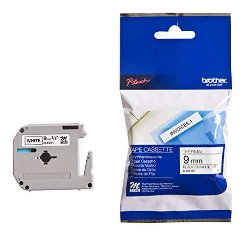 Brother M-K221 original M-Schriftband (kompatibel mit: PT-85, PT-75, PT-BB4, PT-55, PT-65, PT-80, PT-90 und PT-M95) schwarz auf weiß