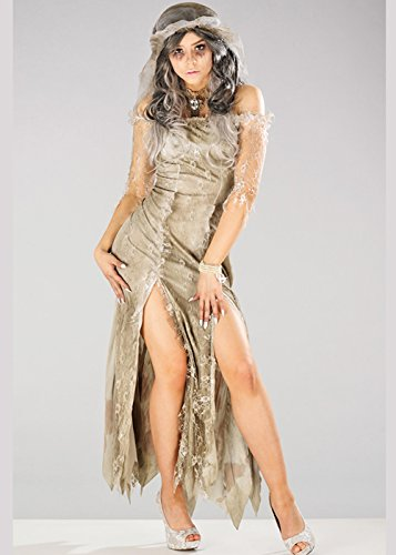 Untote Braut Kostüm - Damen Halloween Untote Zombie Braut Kostüm