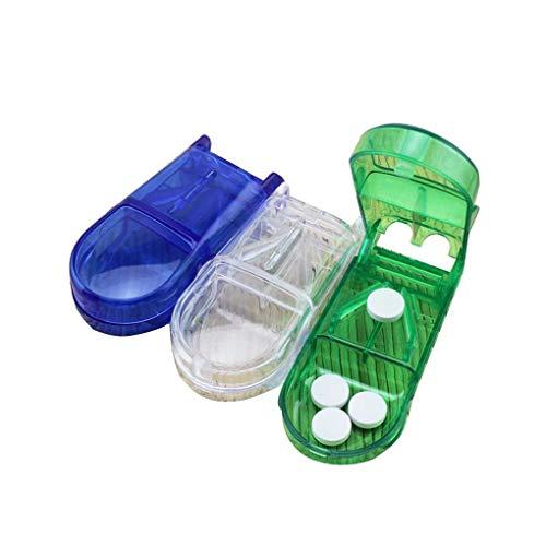 Busirde 3pcs Set Rechteck-Tabletten/Pillen/Vitamin/Kapsel Cutter Splitter mit Edelstahl-Blatt
