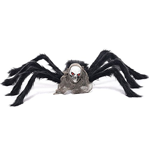 TOAOB Große Spinne Halloweendekoration Haunted House Prop Skelett Araneid Plüsch Spinne unheimlich Dekoration (House Tür Haunted Dekoration)
