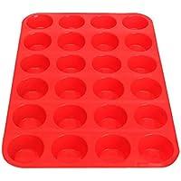 BESTOMZ Teglia per Muffin Cupcake Silicone Stampo Antiaderente per 24 Muffin Rosso