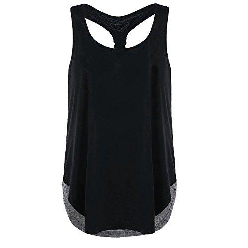 JMETRIC Damen Freizeit Mode Ärmellos Weste Farbabstimmung I-Förmige Tops T-Shirts Lose Zurück öffnen Tanktops Bluse(Grau,XL)