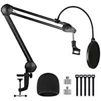 "InnoGear Microphone Arm Stand, Heavy Duty Suspension Mic Boom Scissor with Mic Clip, Pop Filter, Windscreen, 5/8"" to 3/8"", 5/8"" to 1/4"" Adapter, Cable Ties for Blue Yeti Nano Snowball Other Mics"