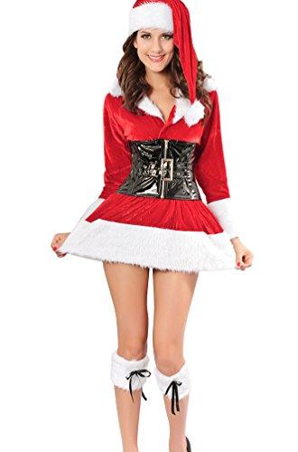 Baymate Damen Weihnachts Kostüm Karneval Cosplay Partykleider Outfit ...