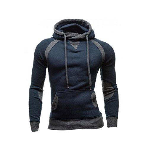 Sannysis Männer Winter Slim Hoodie Warm Pullover Sweatshirt mit Kapuze Mantel Outwear (L, Marine) (Slim-tier Womens)