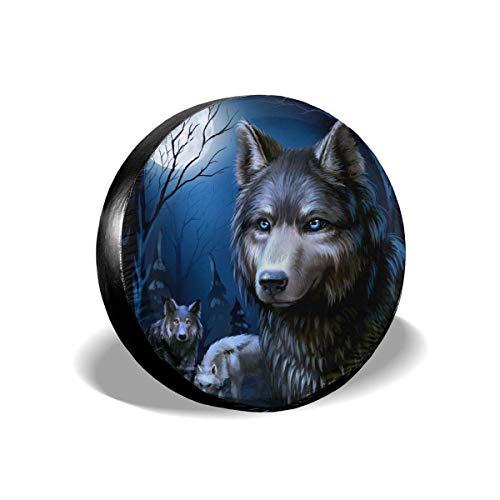 opi 90iuop Copriruota Moon Wolf Potabile in Poliestere Ruota di scorta Universale Copriruota per rimorchio RV SUV Camion Camper Rimorchio da Viaggio (14,15,16,17 Pollici)