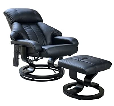 Homcom Luxury Fuax leather Chair Recliner Electric Massage Chair Sofa 10 Massager Heat with Foot Stool Black produced by Sold by MHSTAR - quick delivery from UK.